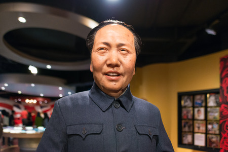 the chairman: BANGKOK - JUL 22: A waxwork of Chairman Mao Zedong on display at Madame Tussauds on July 22, 2015 in Bangkok, Thailand. Madame Tussauds newest branch hosts waxworks of numerous stars and celebrities.