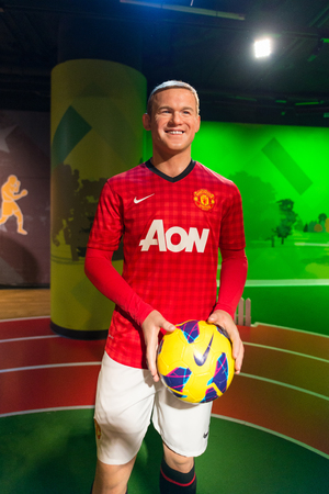 celeb: BANGKOK - JUL 22: A waxwork of Wayne Rooney on display at Madame Tussauds on July 22, 2015 in Bangkok, Thailand. Madame Tussauds newest branch hosts waxworks of numerous stars and celebrities.