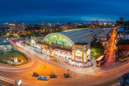 BANGKOK, THAILAND - AUG 15: Bangkok Railway Station unofficially known as Hua Lamphong Station on August 15, 2015 in Thailand. is the main railway station in Bangkok, Thailand. Editorial