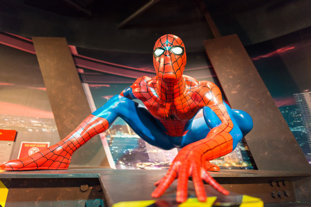 celeb: BANGKOK -JULY 22: A waxwork of Spiderman on display at Madame Tussauds on July 22, 2015 in Bangkok, Thailand. Madame Tussauds newest branch hosts waxworks of numerous stars and celebrities
