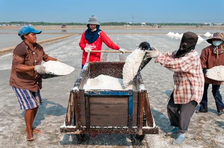salt: Chonburi, Tailandia - MAR 11: Trabajadores no identificados que llevaban la sal en la granja de la sal viernes, 07 de marzo de 2010 en Chonburi Tailandia. Chonburi es la principal zona industrial en Tailandia