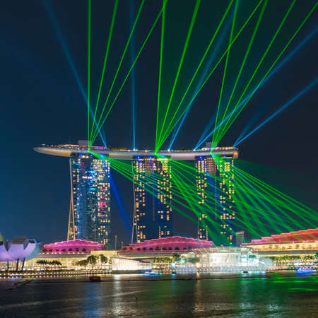 standalone: Laser show at the Marina Bay  in Singapore. Marina Bay Sands is an integrated resort and the worlds most expensive standalone casino property.