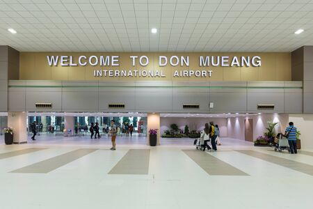 airport check in counter: BANGKOK,THAILAND-JAN 6: Don Mueang International Airport on January 6, 2016 in Bangkok,Thailand.It is one of two international airports in Thailand and was officially opened as a Royal Thai Air Force.