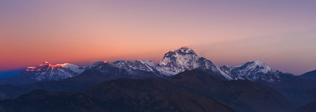 hill range: The majestic of Dhaulagiri mountain peak and other Himalayan range during sunrise view from Poon Hill at Nepal.