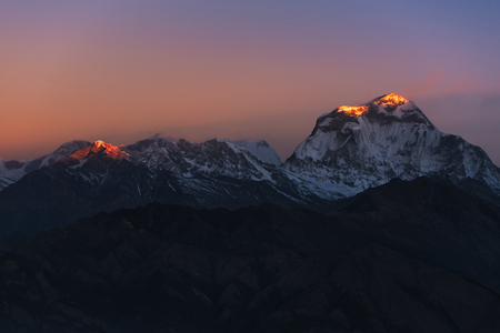 hill range: The majestic of Himalayan mountain range during sunrise view from Poon Hill view point at Nepal.