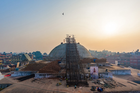 stupa one: Boudhanath stupa structural damages after the 7.8 earthquake hit Nepal during April 25th in Kathmandu, Nepal. Boudhanath is one of the largest ancient stupa in the world