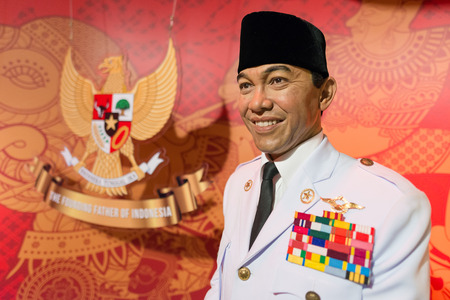 arts culture and entertainment: BANGKOK - JAN 29: A waxwork of Soekarno on display at Madame Tussauds on January 29, 2016 in Bangkok, Thailand. Madame Tussauds newest branch hosts waxworks of numerous stars and celebrities Editorial