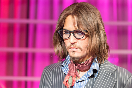 celebrity: BANGKOK - JAN 29: A waxwork of Johnny Depp on display at Madame Tussauds on January 29, 2016 in Bangkok, Thailand. Madame Tussauds newest branch hosts waxworks of numerous stars and celebrities