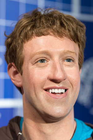 mark zuckerberg: BANGKOK - JAN 29: A waxwork of Mark Zuckerberg on display at Madame Tussauds on January 29, 2016 in Bangkok, Thailand. Madame Tussauds newest branch hosts waxworks of numerous stars and celebrities