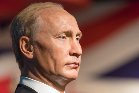 celeb: BANGKOK -JAN 29: A waxwork of Vladimir Putin on display at Madame Tussauds on January 29, 2016 in Bangkok, Thailand. Madame Tussauds newest branch hosts waxworks of numerous stars and celebrities Editorial