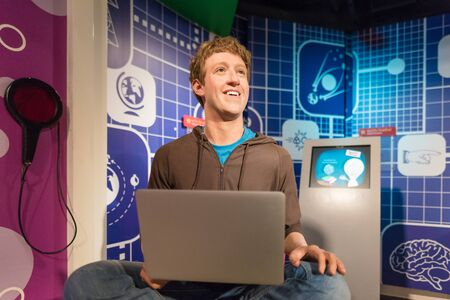 BANGKOK - JAN 29: A waxwork of Mark Zuckerberg on display at Madame Tussauds on January 29, 2016 in Bangkok, Thailand. Madame Tussauds newest branch hosts waxworks of numerous stars and celebrities