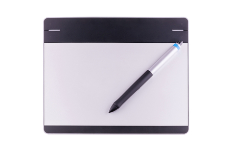 illustrators: Top view of graphic tablet with pen isolated on white background. For illustrators, photographer and designers Stock Photo