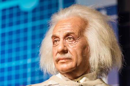 celebrity: BANGKOK - JAN 29: A waxwork of Albert Einstein on display at Madame Tussauds on January 29, 2016 in Bangkok, Thailand. Madame Tussauds newest branch hosts waxworks of numerous stars and celebrities