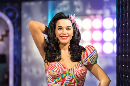 perry: BANGKOK-JAN 29:: A waxwork of Katy Perry on display at Madame Tussauds on on January 29, 2016 in Bangkok, Thailand. Madame Tussauds newest branch hosts waxworks of numerous stars and celebrities