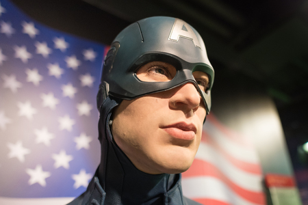 celeb: BANGKOK -JAN 29 : A waxwork of Captain America on display at Madame Tussauds on January 29, 2016 in Bangkok, Thailand. Madame Tussauds newest branch hosts waxworks of numerous stars and celebrities
