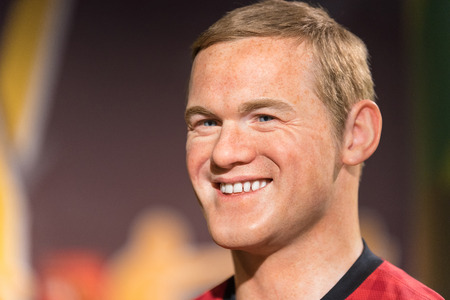 BANGKOK - JAN 29: A waxwork of Wayne Rooney on display at Madame Tussauds on January 29, 2016 in Bangkok, Thailand. Madame Tussauds' newest branch hosts waxworks of numerous stars and celebrities