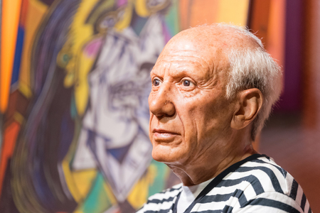 BANGKOK - JAN 29: A waxwork of Pablo Picasso on display at Madame Tussauds on January 29, 2016 in Bangkok, Thailand. Madame Tussauds newest branch hosts waxworks of numerous stars and celebrities