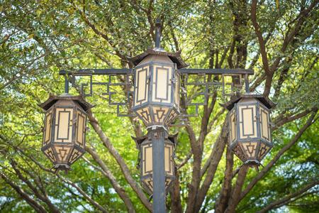 garden lamp: Walkway vintage garden lamp in park inside Chinese temple , outdoor modern lighting item technology Stock Photo