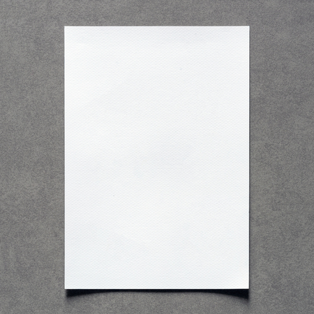sheet: Close up of empty white paper sheet with shadow on vintage wall background for painting, writing, drawing and sketching. Elegant Design with Space for Text and Ideal Balanced Colors