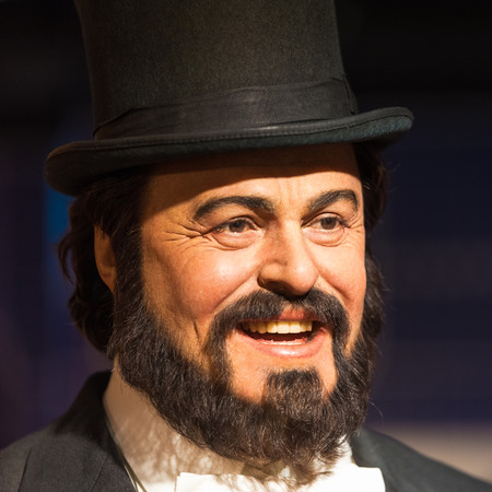 celeb: BANGKOK - JAN 29: A waxwork of Luciano Pavarotti on display at Madame Tussauds on January 29, 2016 in Bangkok, Thailand. Madame Tussauds newest branch hosts waxworks of numerous stars and celebrities