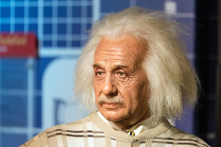 celeb: BANGKOK - JAN 29: A waxwork of Albert Einstein on display at Madame Tussauds on January 29, 2016 in Bangkok, Thailand. Madame Tussauds newest branch hosts waxworks of numerous stars and celebrities