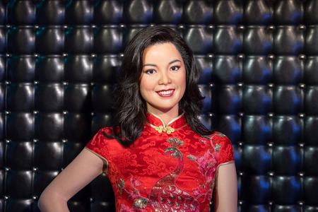 teng: BANGKOK - JAN 29: A waxwork of Teresa Teng on display at Madame Tussauds on January 29, 2016 in Bangkok, Thailand. Madame Tussauds newest branch hosts waxworks of numerous stars and celebrities