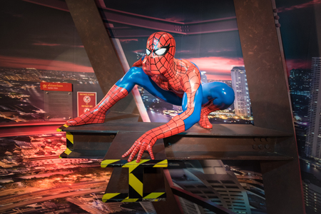 celebrity: BANGKOK -JAN 29: A waxwork of Spiderman on display at Madame Tussauds on January 29, 2016 in Bangkok, Thailand. Madame Tussauds newest branch hosts waxworks of numerous stars and celebrities