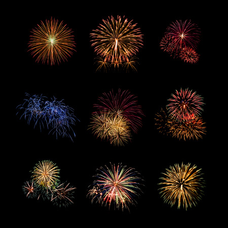 dazzling: Color fireworks set light up on sky with dazzling display on black background. Event and celebrations background concept