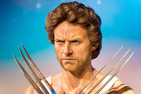 hugh: BANGKOK -JAN 29: A waxwork of Wolverine on display at Madame Tussauds on January 29, 2016 in Bangkok, Thailand. Madame Tussauds newest branch hosts waxworks of numerous stars and celebrities