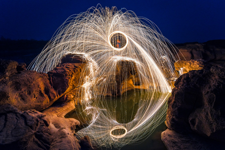 rock wool: Long exposure capture of Burning steel wool being spun before dusk on a grand canyon rock field