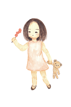 Watercolour painting lonely girl holding bear doll cute cartoon isolate on white background. Stock Photo