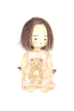 bear doll: Watercolour painting lonely girl holding bear doll cute cartoon isolate on white background. Stock Photo