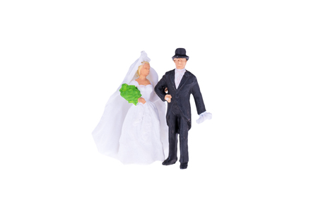 Close up of Miniature wedding bride and groom couple isolate on white background