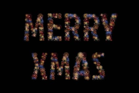 dazzling: Colour fireworks light up forming a MERRY CHRISTMAS word on black background with dazzling display. Event and celebrations background concept Stock Photo