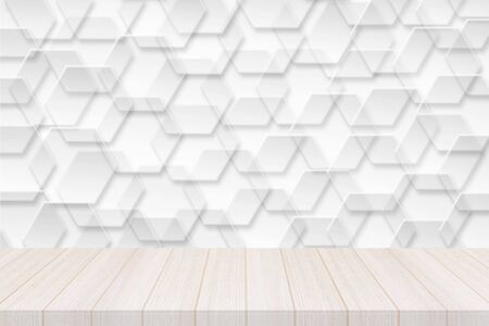 Perspective white wood table top with hexagonal banner with transparency Background, Elegant Design with Space for placement your background,Template mock up for montage your products