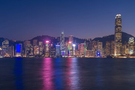 Hong kong downtown the famous cityscape view of Hong Kong skyline from Kowloon side at Hong Kong