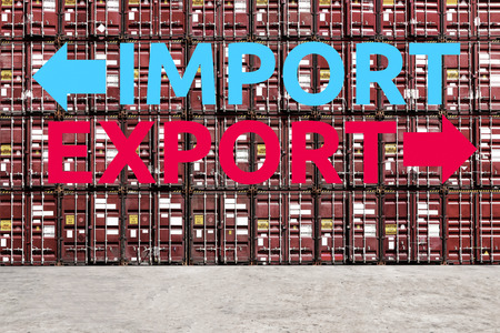 Stack pattern of cargo shipping containers with Export and Import Words in shipping yard for global transportation import,export and logistic business concept