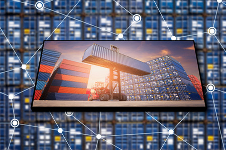 Cargo container logistic business with internet of things technology for global business connection to worldwide shipping.photo design for transportation import,export and logistic industrial concept