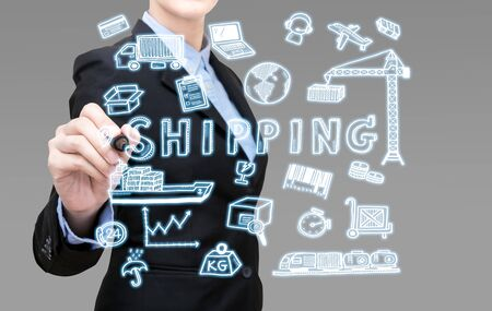 dockyard: Smart Business woman is writing shipping idea concept present by icon symbol elements.Elegant Design for smart business container cargo shipping,Logistic,Import  and Export business concept