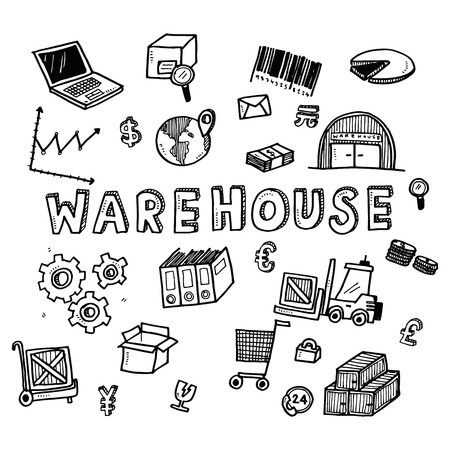 Hand draw warehouse business doodles icon set for global transportation import,export and logistic business concept. Stock Photo