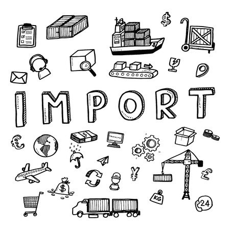 dockyard: Hand draw import business doodles icon set for global transportation import,export and logistic business concept. Stock Photo