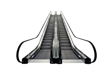 The Escalator moving isolated on white background.Object isolated with clipping path Фото со стока