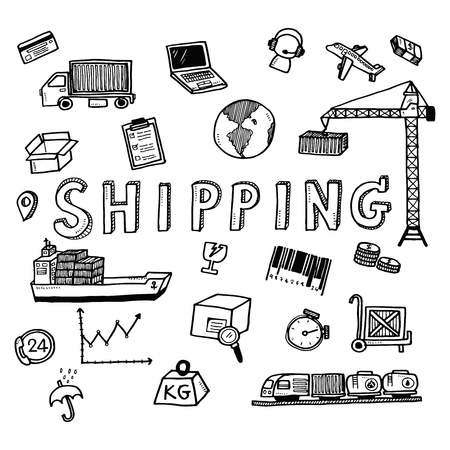 loading dock: Hand draw shipping business doodles icon set for global transportation import,export and logistic business concept. Illustration