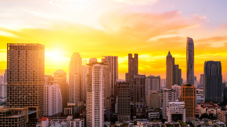 Urban condominium view of Bangkok in business zone during sunset. Bangkok is the capital of Thailand and Bangkok is also the most populated city in Thailand. Stock Photo