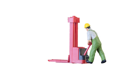 warehouse: Miniature worker people with lifting tools isolated with clipping paht on white background. Elegant Design with copy space for placement your text, mock up for industrial and logistic concept.