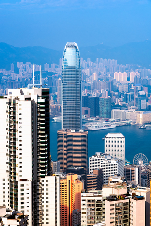 Hong kong downtown the famous cityscape view from the Victoria peak the famous viewpoint in Hong Kong.