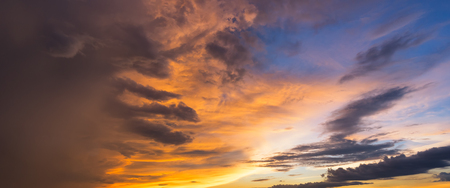 Panorama view of Beautiful nature sunset sky and clouds background