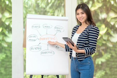 Young asian entrepreneur brainstorm and discuss for marketing plan with her marketing team at home office.Conceptual for small businesses starting own company and online marketing Stock Photo