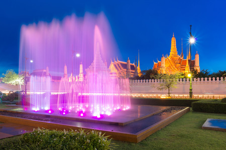 kaew: Fountain dance show in front of Wat Phra Kaew, Temple of the Emerald Buddha in Bangkok, Thailand.
