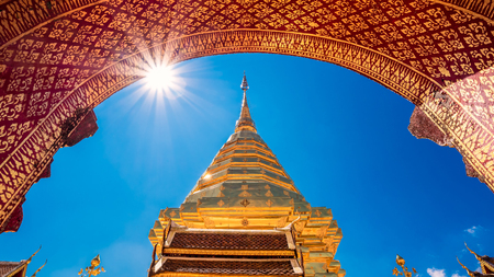 Wat Phra That Doi Suthep with blue sky in Chiang Mai. The attractive sightseeing place for tourists and landmark of Chiang Mai,Thailand